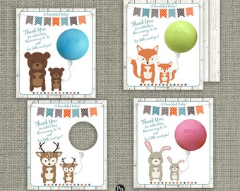 Printed Woodland Animal Baby Shower Party Favors for EOS lip balm   Thank You Tags   No. PWLN-EOS1
