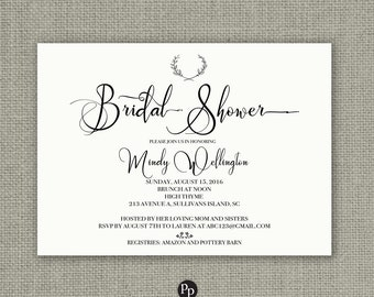 Printable Bridal Shower Invitation Card | Calligraphy Design | Wreath Kraft Paper Design | Flowers | Customize | DIY - No. RSW1-1