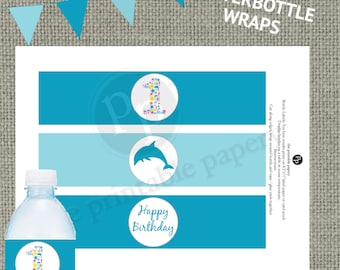 Printable Ocean 1st Birthday Party Waterbottle Wraps Labels | Beach Sea Dolphin | Waterbottle Labels | Instant Download | SEA-BL-WB