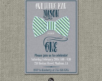 Printable Boy Birthday Invitation Card |Our Little Man| Bow Tie Design | Gray Blue Green| Digital Download | DIY - No. OLM-145b