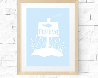 Printable Nursery Wall Art | Fishing | Gone Fishing | Nursery Print | Little Boy Print |  Digital Download | No. FSH1-1