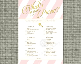 "Printable  ""What's in Your Purse?"" Baby Shower Game 