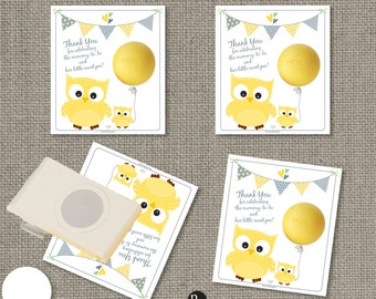 Baby Shower Owl Gift Tags for EOS lip balm | INSTANT DOWNLOAD | Thank You Favor Tags | No. Owl3-EOS1