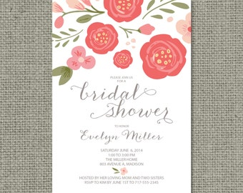 Printable Bridal Shower Invitation Card | Flower | Floral and Calligraphy Design | Customize | DIY - No. WCC-13