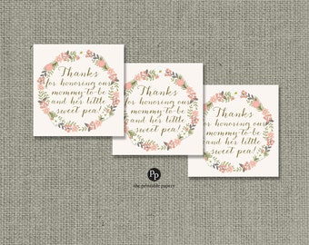 Baby Shower Gift Tags   Thank You Tags   INSTANT DOWNLOAD   Round or Square Favor Tags   No. BFR-133K