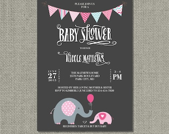 Printable Baby Shower Invitation Card | Digital Download | Elephants Balloon Design | Chalkboard Pink Blue | Customize | DIY - No. BBE2-2
