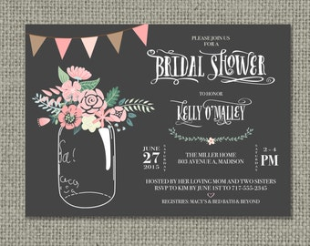 Printable Bridal Shower Invitation Card | Mason Jar Flower Design | Ball Jar Floral | Digital Download | DIY - No. BRW-1-1