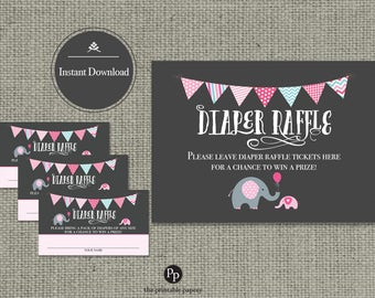 Baby Shower Diaper Raffle | Elephant PINK Raffle Ticket | Printable | Instant Download | BBE2-133DR