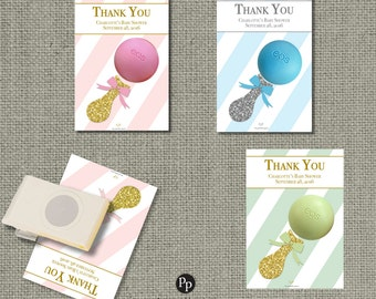 PRINTABLE Baby Shower Gift Tags for EOS lip balm | Pink Blue Green Black Stripe Favor Tags | No. STP-EOS1