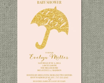 "Printable Pink & Gold Glitter Baby Shower Invitation Card | Digital Download | ""It's A Girl"" Umbrella Design | Customize | DIY - No. BTW1-1"
