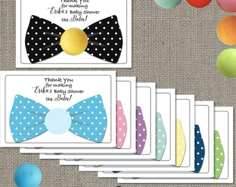 Bow Tie Baby Shower Gift Tags for EOS lip balm gifts | Thank You Favor Tags | No. BOW2-EOS1