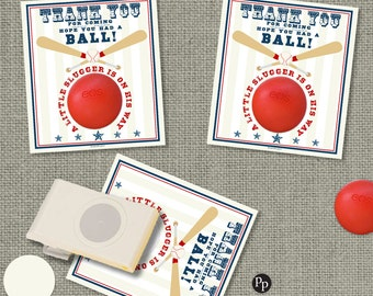 Baby Shower Gift Tags for EOS lip balm gifts | Instant Download | Baseball Theme Thank You Favor Tags | No. SBA-EOS