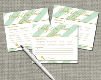Baby Predictions & Advice for Mom Cards | Baby Shower Game| Green White Stripe with Gold Glitter Design |  GBS-133ef