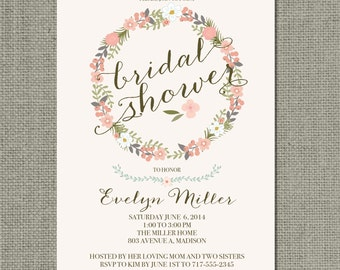 Printable Bridal Shower Invitation Card | Flower Wreath and Calligraphy Design |Blush Peach | Flowers | Customize | DIY - No. BFR6-6