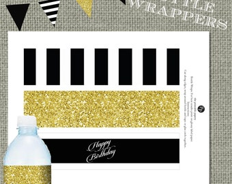Printable Water Bottle Wrapper | Black Stripes & Gold Glitter | Calligraphy | Instant Download | DIY Happy Birthday | BSA |  No. WBR-221