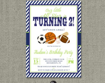 Printable Boy Sports Birthday Invitation Card | Oh Boy! | Football Baseball Basketball Soccer Design | Digital Download | DIY - No. BCB1-1