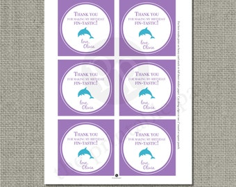 Printable Custom Ocean Birthday Party Favor Tags | Beach Sea Dolphin | Turtle Whale Sea Shell | SEA-PC-PFT