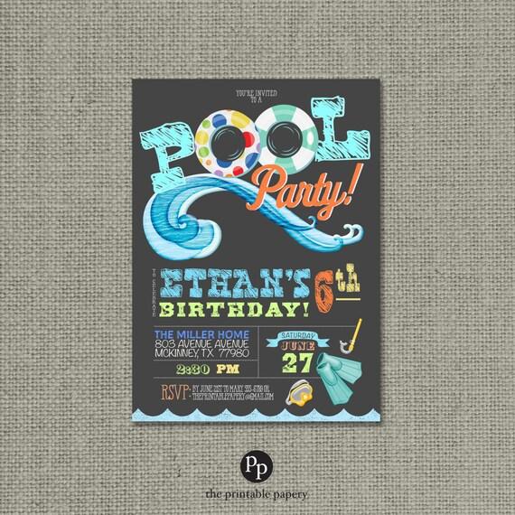 Printable Swim Pool Party Birthday Invitation Card