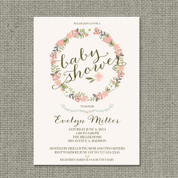 Printable Baby Shower Invitation Card Flower Wreath And Calligraphy Design Customize Diy No Bfr1 1