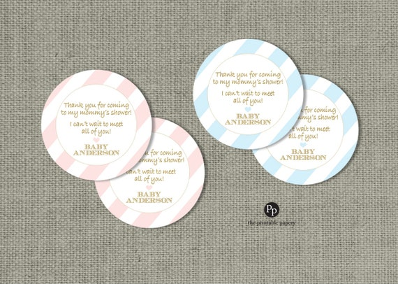baby shower gift favor tags personalized printable round etsy