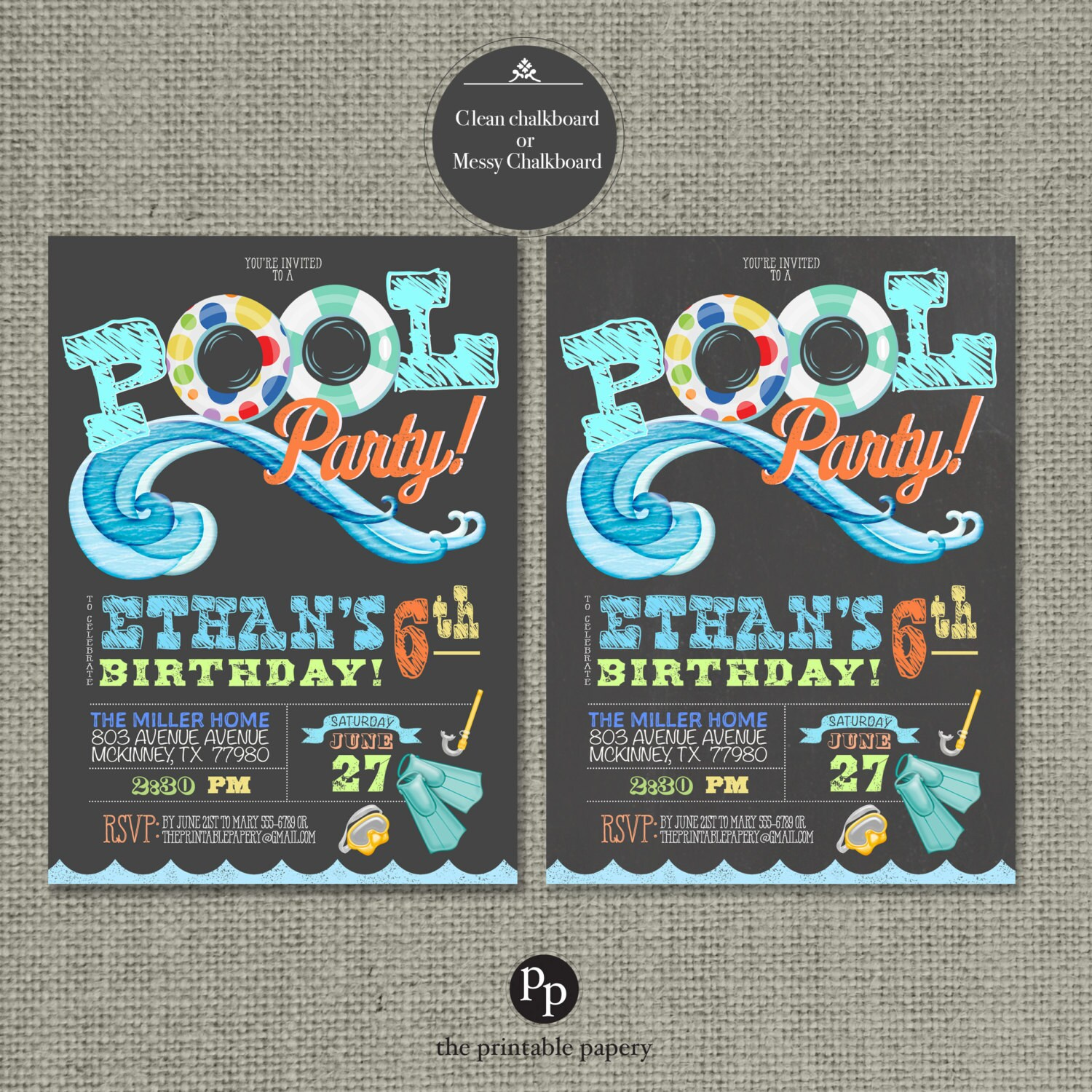 Printable Swim Pool Party Birthday Invitation Card