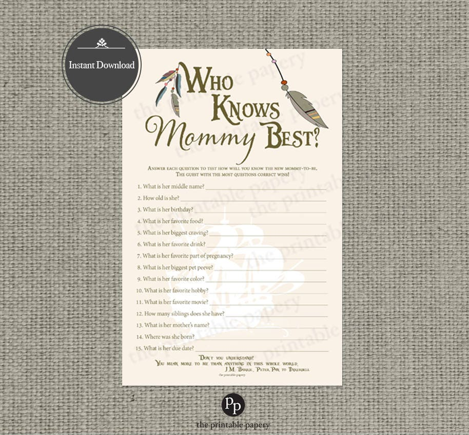 image relating to Who Knows Mommy Best Printable identified as Printable Who Understand Mommy Excellent Youngster Shower Sport Peter