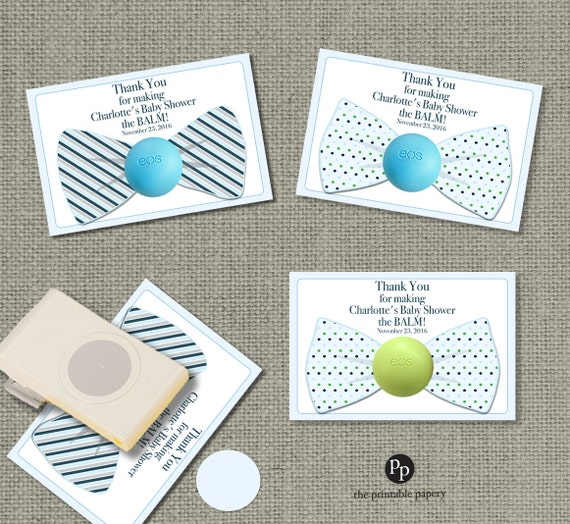Bow Tie Baby Shower Favors For Eos Lip Balm Gifts Thank You Etsy