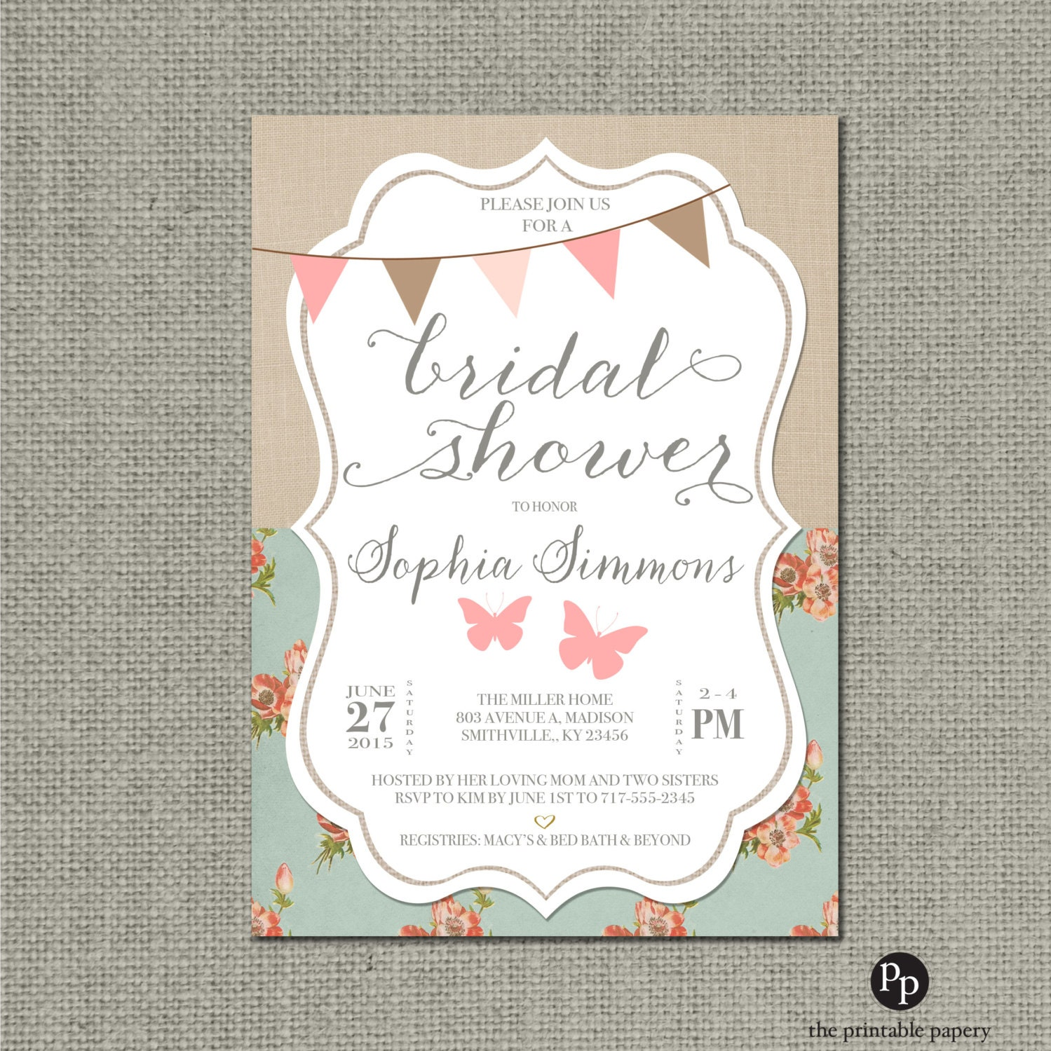 Shabby Chic Bridal Shower Invitation Card | Rustic Butterfly ...