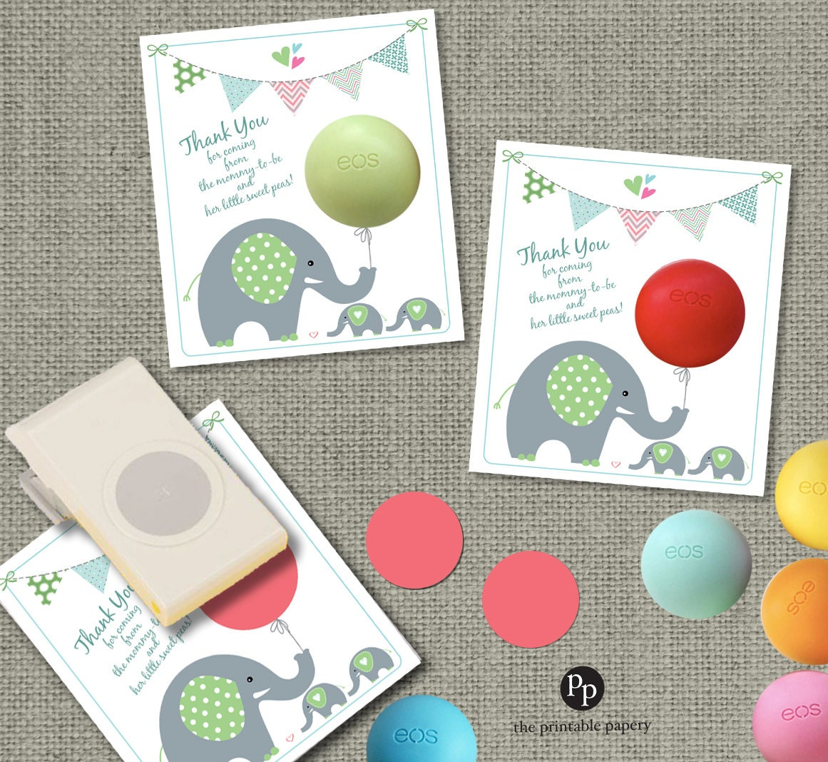 Twins Baby Shower Gift Tags For EOS Lip Balm Gifts Thank