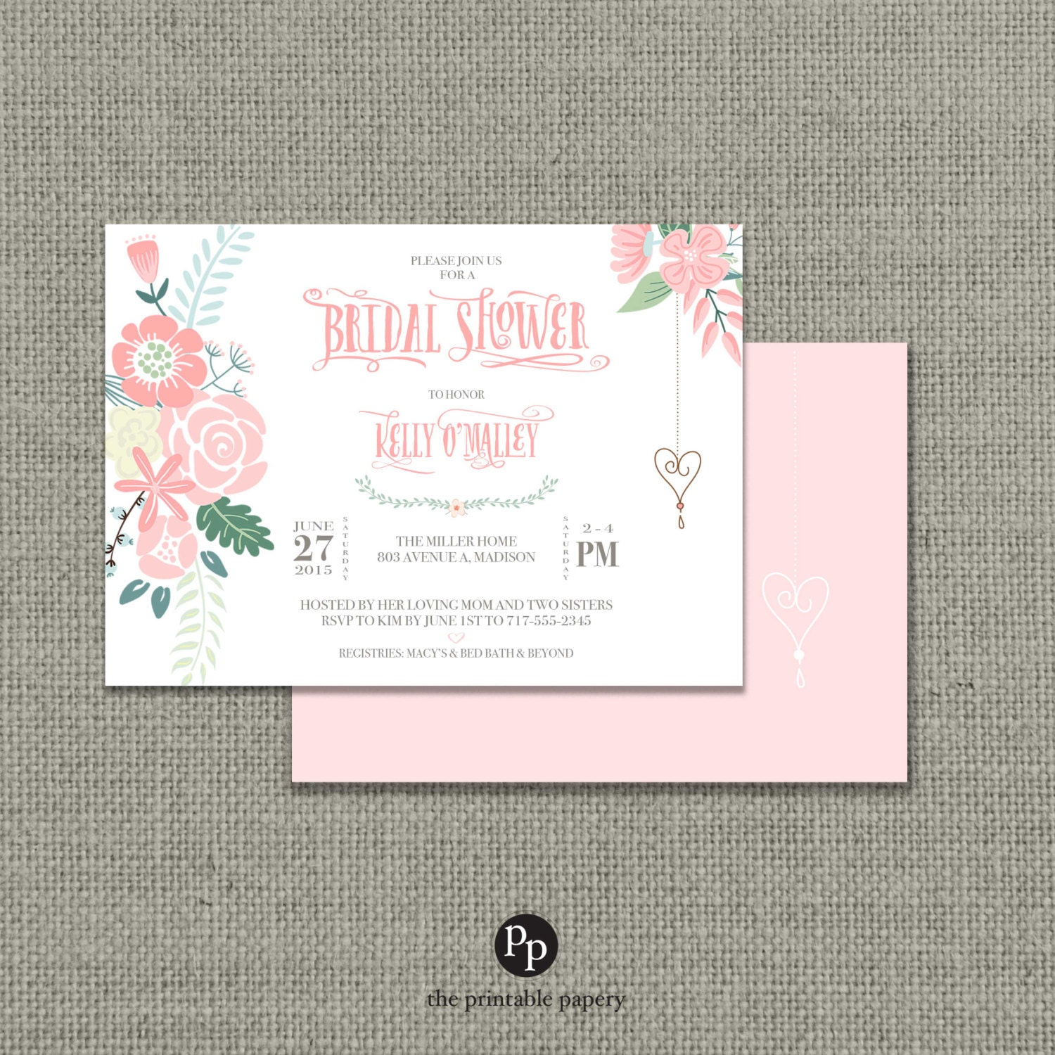 Printable Bridal Shower Invitation Card | Flower | Floral and Calligraphy Design | Customize | DIY - No. BRW7-7
