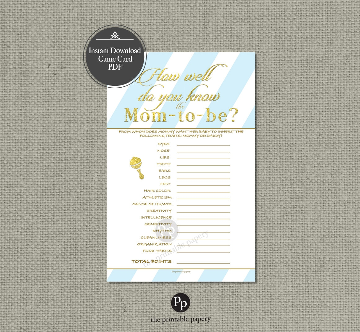 Printable How Well Do You Know The Mom-to-be? Baby Shower