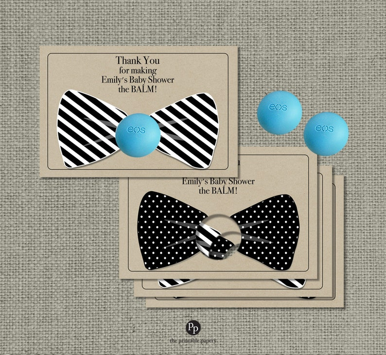 Bow Tie Kraft Paper Baby Shower Favors For Eos Lip Balm Gifts Thank You Tags Baby Shower The Balm Black White Favor Tags Bow Eos