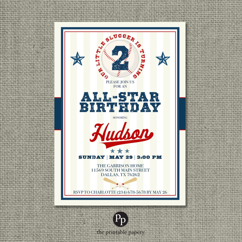 Printable Boy Baseball Birthday Invitation Card | Our Little Slugger ...