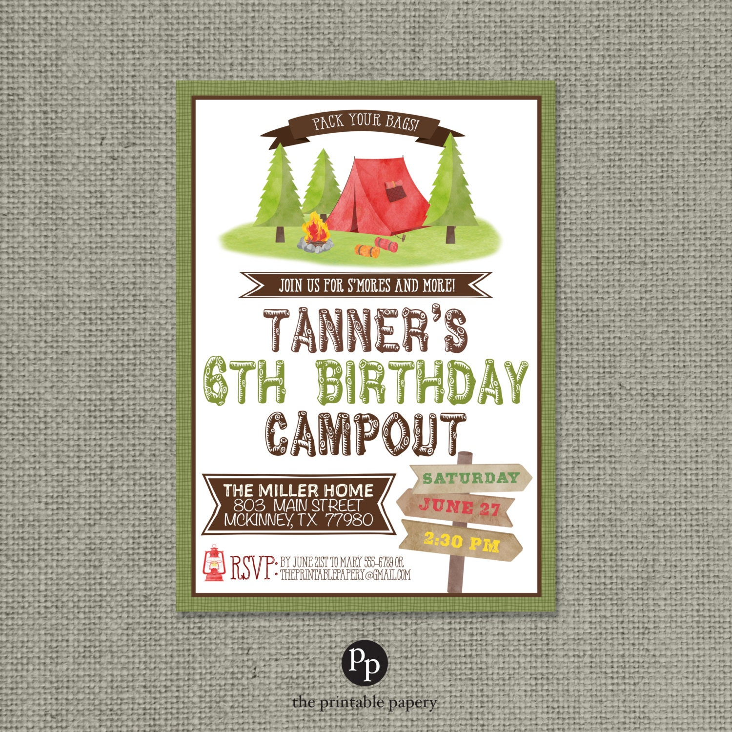 Printable Camping Party Birthday Invitation Card