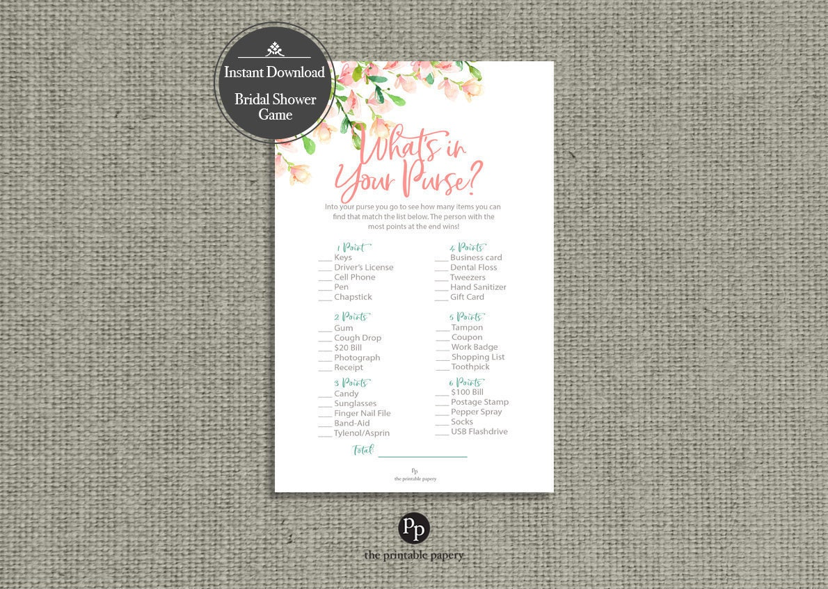 bridal shower game instant download rose watercolor design find items in your purse game hn 133d