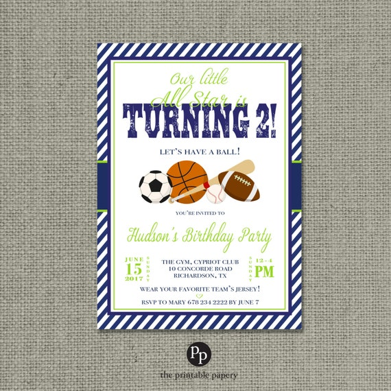 Printable Boy Sports Birthday Invitation Card Oh