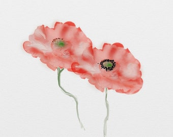 Red Poppies Fine Art Photographic Blank Greetings Card