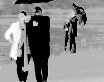 Rainy Days And Sundays... Romantic Couple Walking In The rain Fine Art Photographic Blank Greetings Card