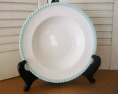 Johnson Brothers Old English Soup Bowl 8 3 4 Inch - White with Mint Green Roped Trim