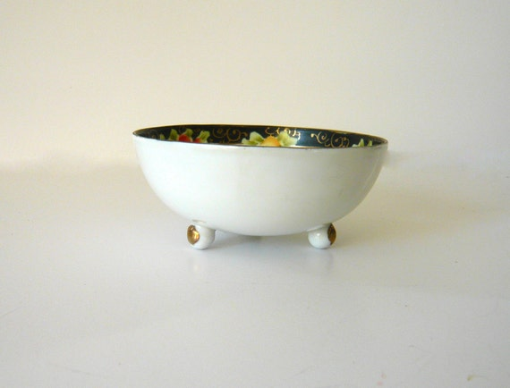 Antique Nippon Porcelain Mayonnaise Dish With Underplate Green Crown Mark 1890s Hand Painted