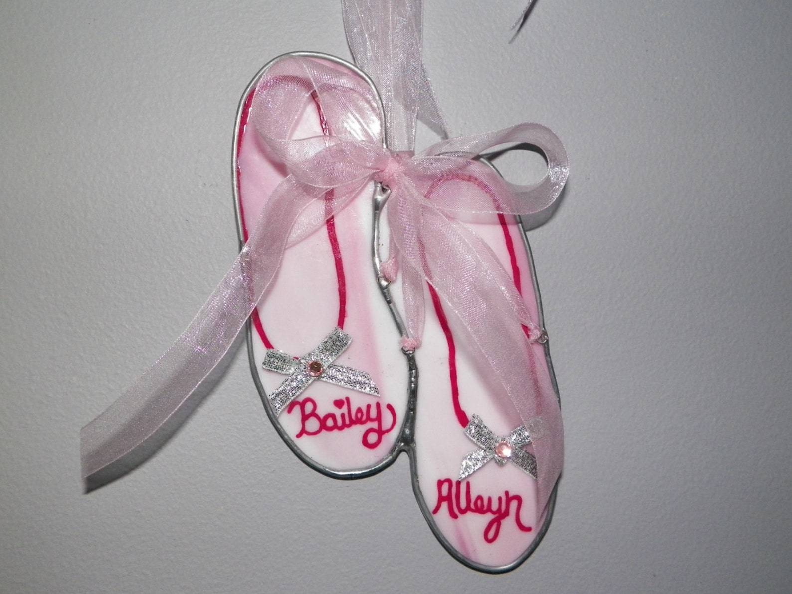 ballet shoes, stained glass, personalized, custom made, handmade, home decor, bedroom