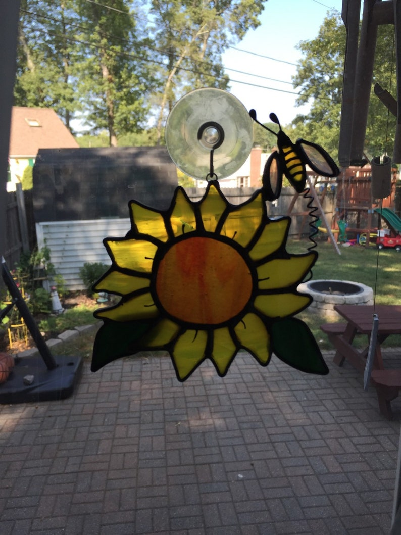 Hand Made Sun Catcher Bumble Bee or Wind Chime Stained Glass Night light Custom Order Sunflower