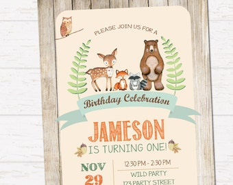 Woodland birthday invitation, Forest Friends, Rustick Style invitation DIGITAL FILE HM113