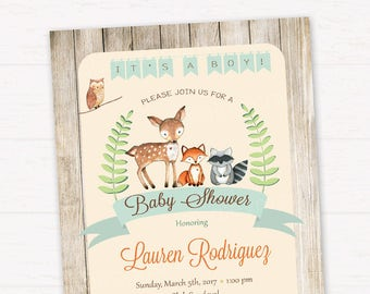 Woodland Baby Shower Invitation, It's a Boy woodland Invitation, Rustic woodland Invitation, Forest Friends Invitation DIGITAL FILE HM111