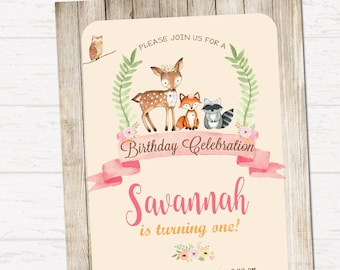 Woodland birthday invitation, Whimsical Invitation, Forest Friends, Rustick Style invitation DIGITAL FILE
