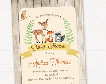 Woodland Baby Shower Invitation, Gender Neutral, Rustic Style Invitation, Forest Friends Invitation DIGITAL FILE HM111