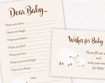 Lamb Baby Shower Wishes for Baby cards, Dear Baby wishes sign DIGITAL FILE HM411