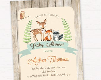 Woodland Baby Shower Invitation, Rustic Style Invitation, Forest Friends Invitation, Gender Neutral DIGITAL FILE HM111