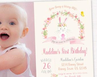 Bunny Birthday Invitation, Some Bunny birthday Party, Easter Birthday Invitation DIGITAL FILE