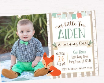 Fox Birthday Invitation, Little Fox Birthday Party Invitation, Woodland Birtday Invitation DIGITAL FILE